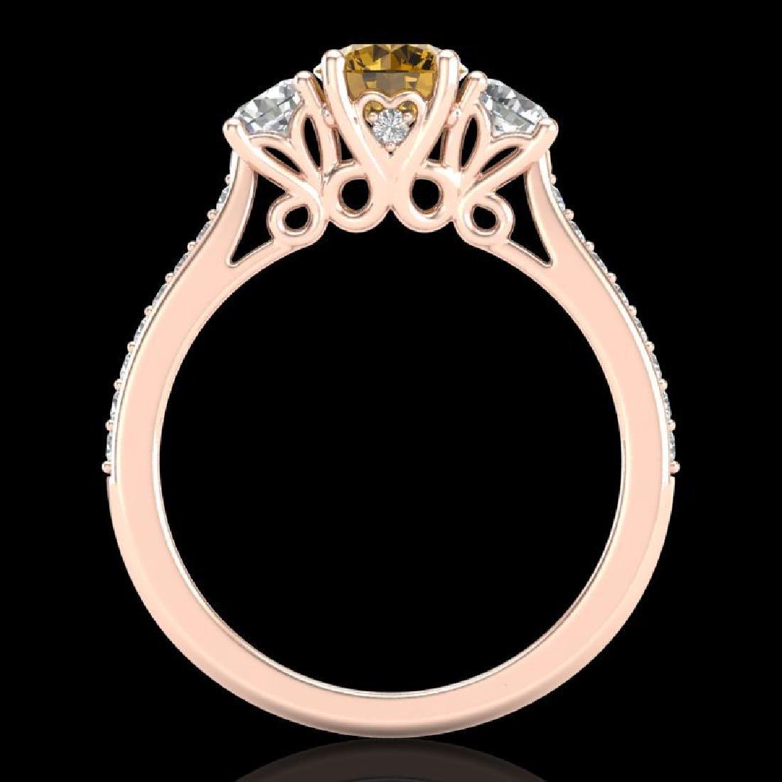 1.67 CTW Intense Fancy Yellow Diamond Art Deco 3 Stone - 3