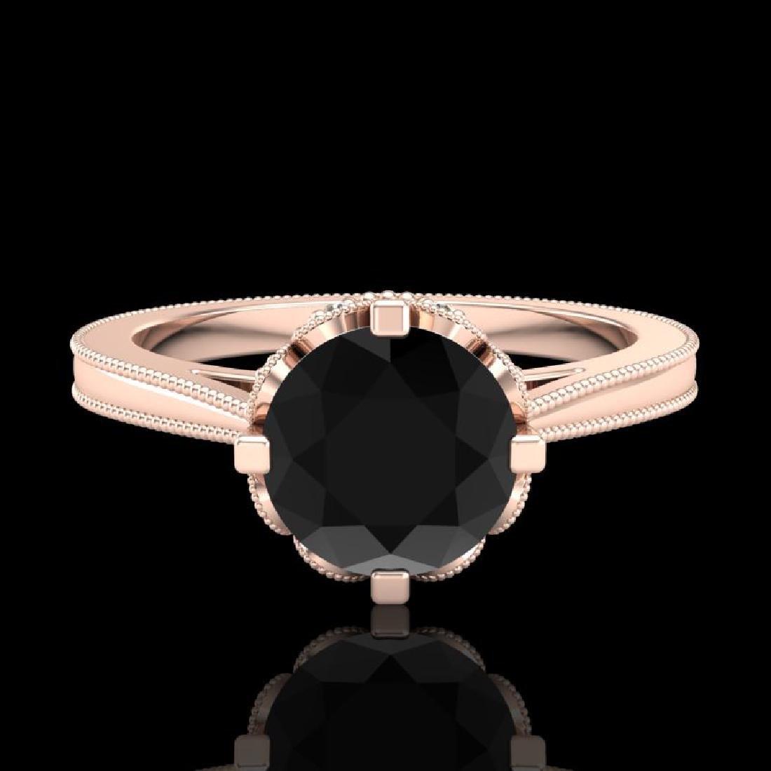 1.5 CTW Fancy Black Diamond Solitaire Engagement Art - 2