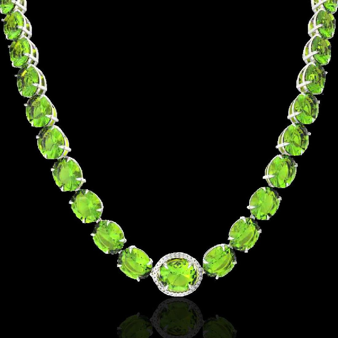 148 CTW Peridot & VS/SI Diamond Halo Micro Solitaire - 2