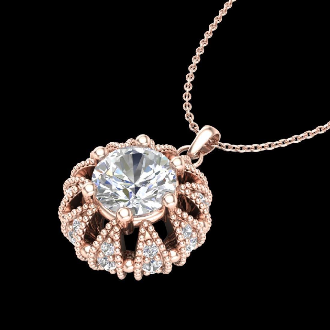 1.2 CTW VS/SI Diamond Art Deco Micro Pave Stud Necklace - 2