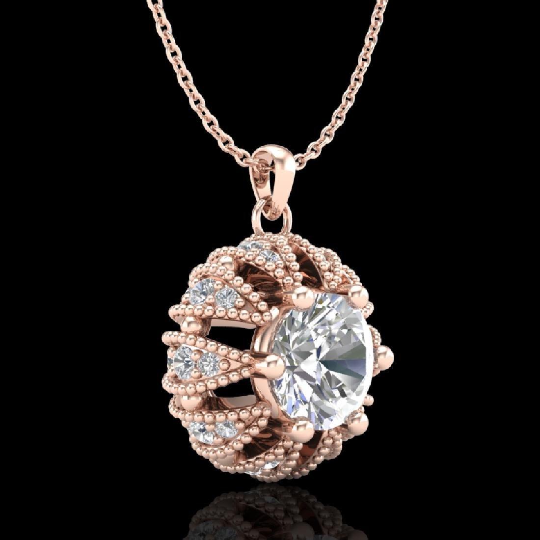 1.2 CTW VS/SI Diamond Art Deco Micro Pave Stud Necklace - 3