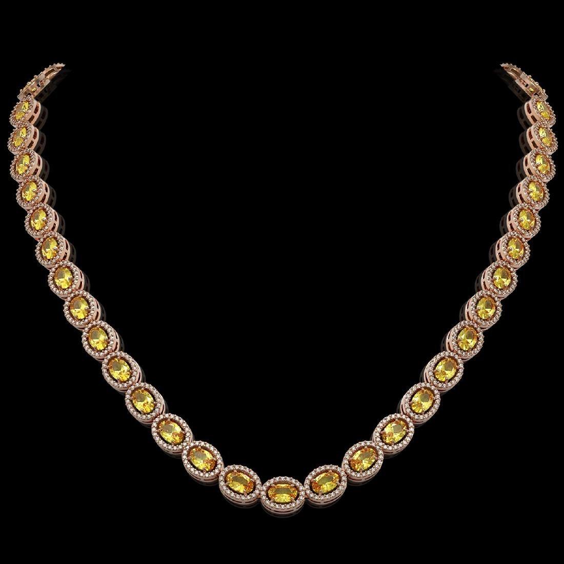 28.52 CTW Fancy Citrine & Diamond Halo Necklace 10K