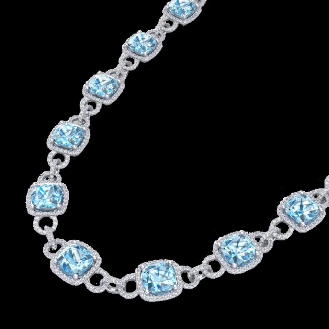 66 CTW Topaz & Micro VS/SI Diamond Eternity Necklace