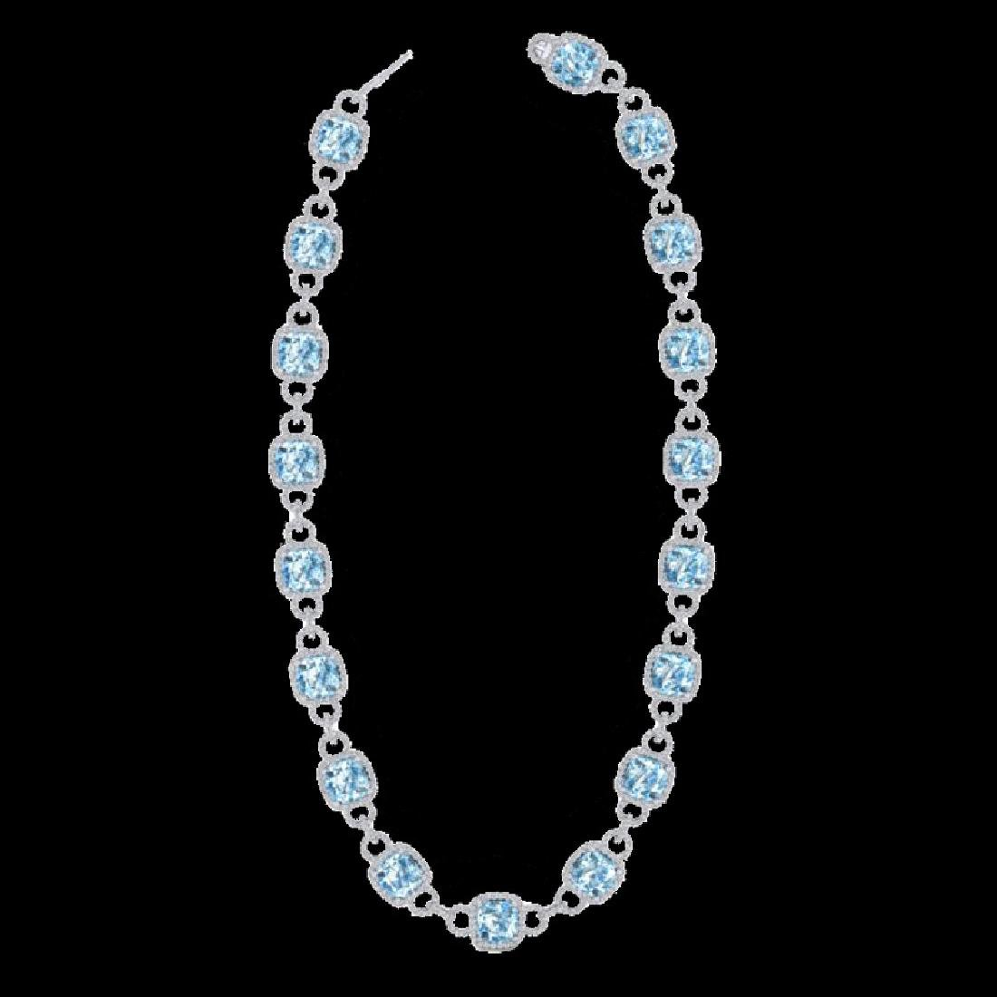 66 CTW Topaz & Micro VS/SI Diamond Eternity Necklace - 2