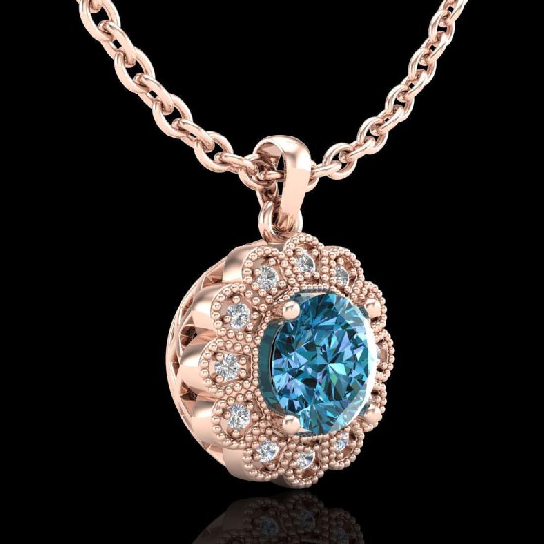 1.15 CTW Fancy Intense Blue Diamond Solitaire Art Deco - 3