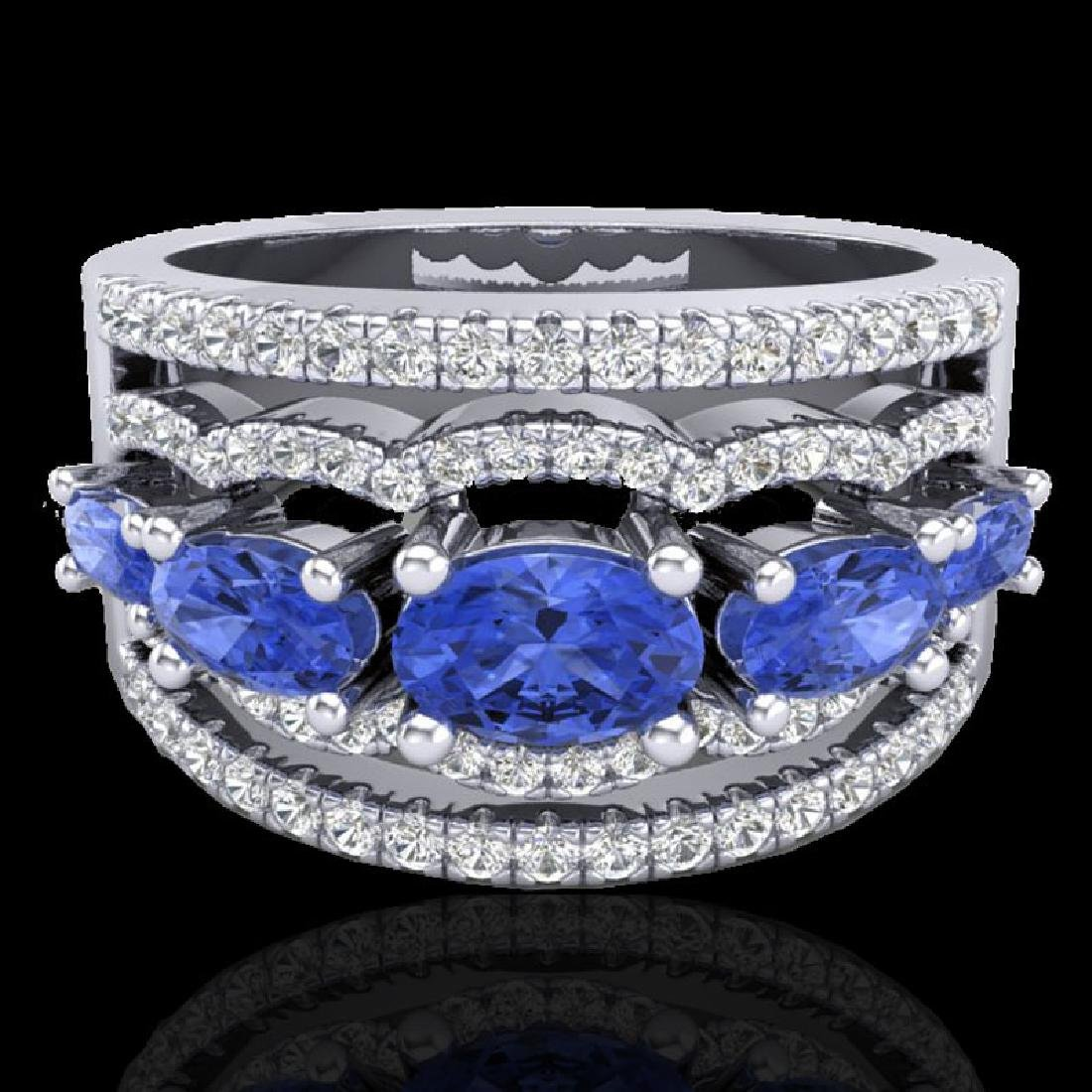 2.25 CTW Tanzanite & Micro Pave VS/SI Diamond Designer