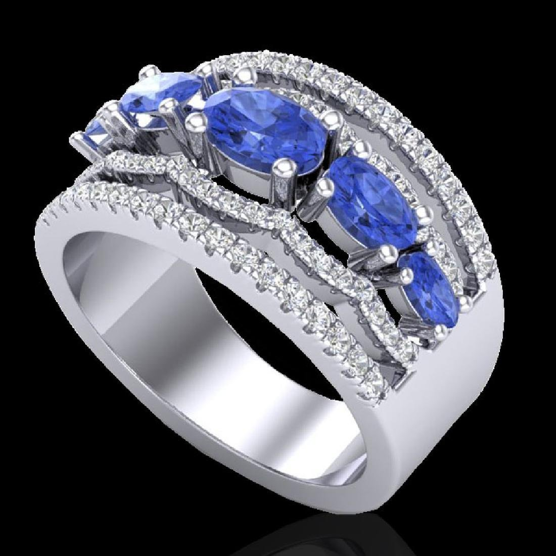 2.25 CTW Tanzanite & Micro Pave VS/SI Diamond Designer - 2