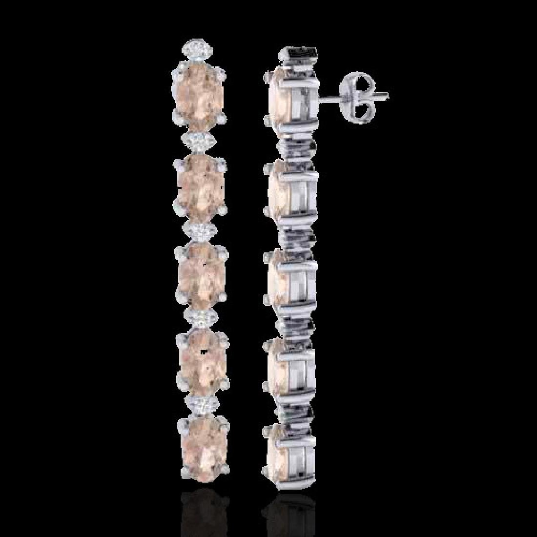 5 CTW Morganite & VS/SI Diamond Tennis Earrings 10K - 2