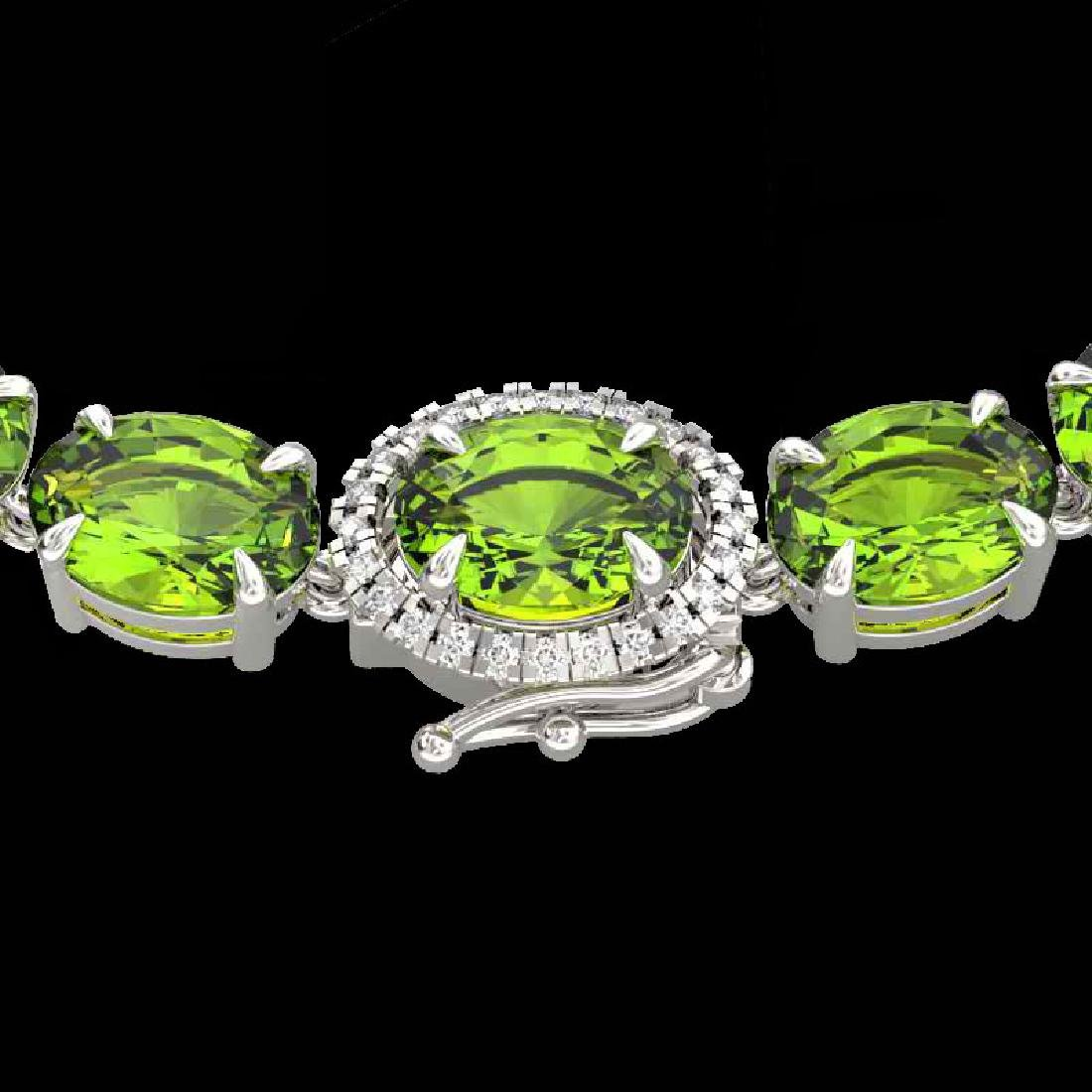 80 CTW Peridot & VS/SI Diamond Tennis Micro Pave Halo