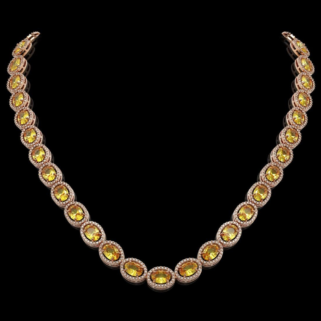 46.39 CTW Fancy Citrine & Diamond Halo Necklace 10K