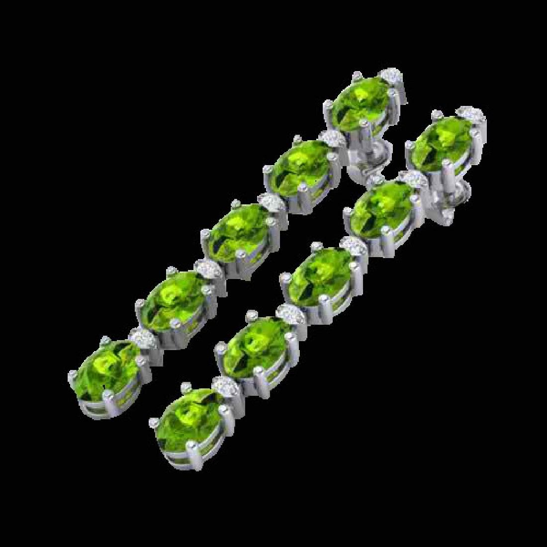 15.47 CTW Peridot & VS/SI Certified Diamond Earrings