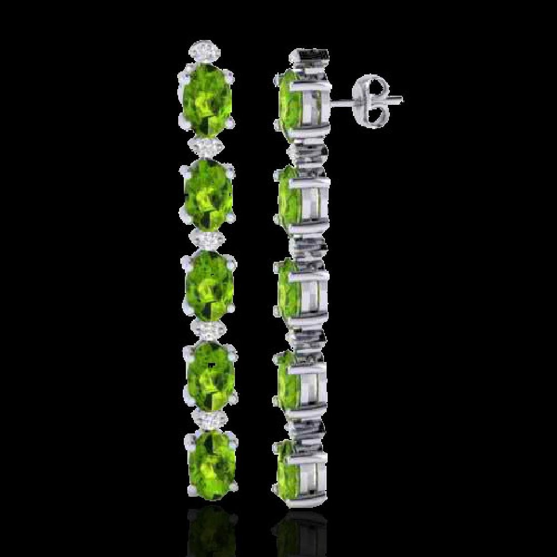 15.47 CTW Peridot & VS/SI Certified Diamond Earrings - 2