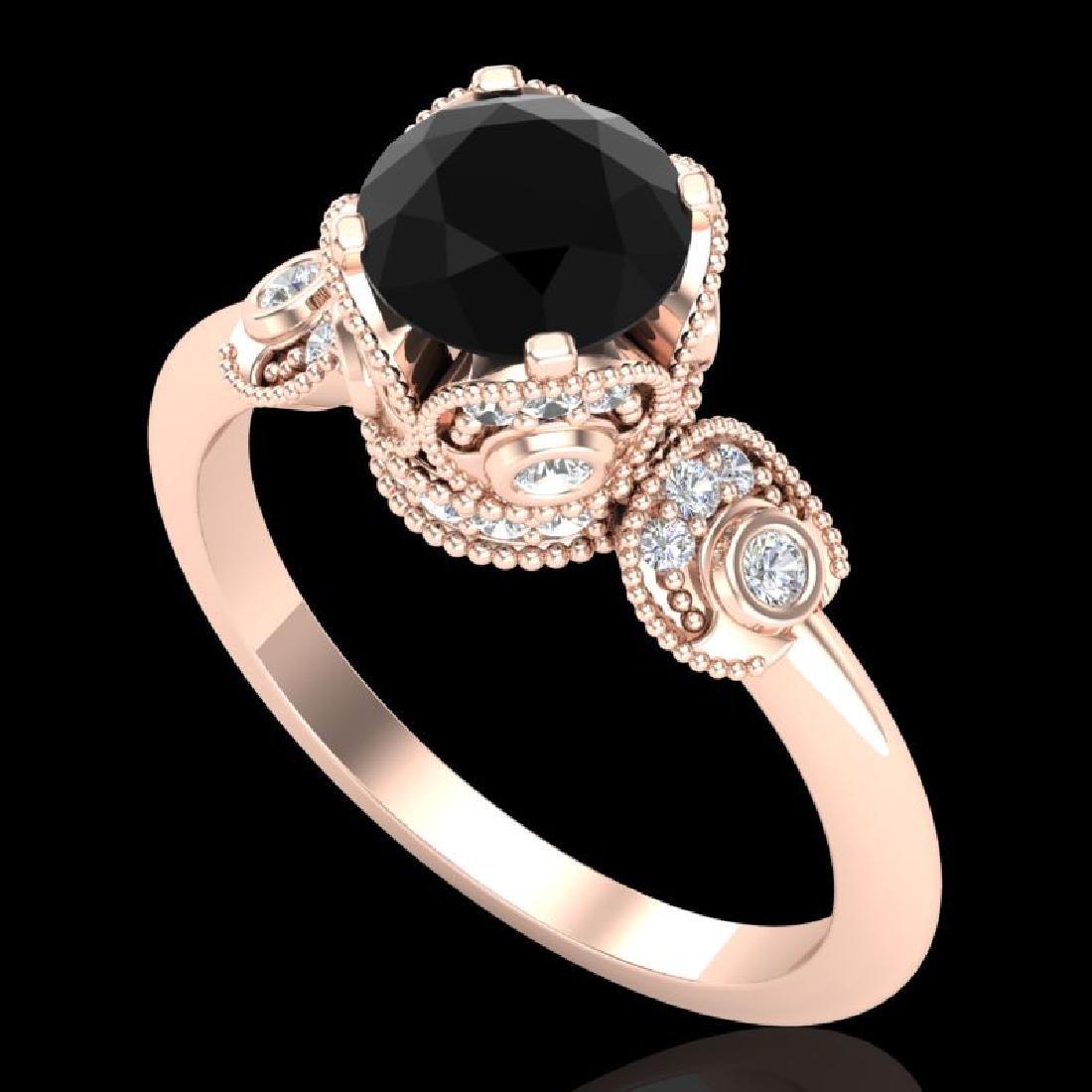 1.75 CTW Fancy Black Diamond Solitaire Engagement Art
