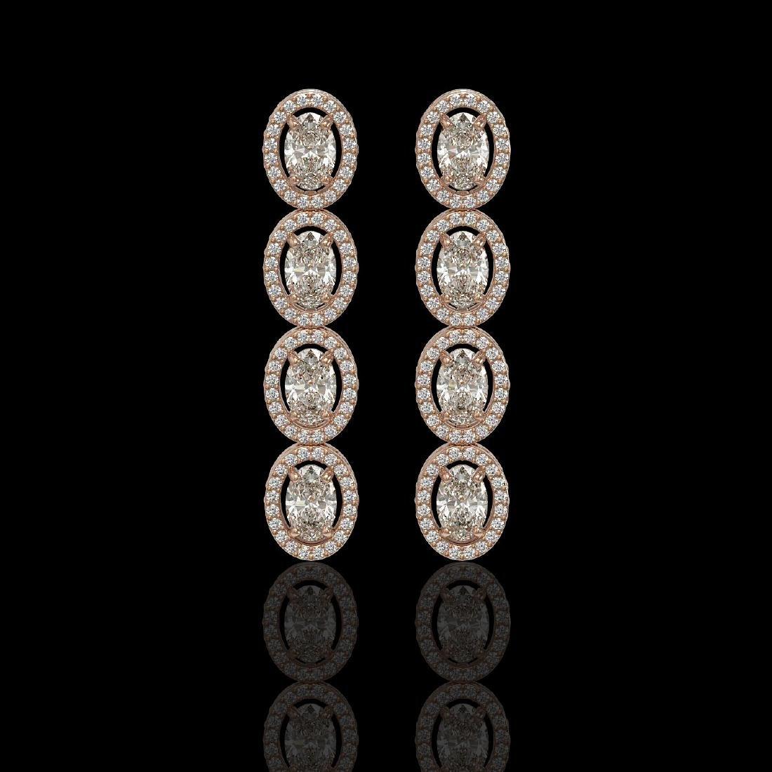 5.33 CTW Oval Diamond Designer Earrings 18K Rose Gold
