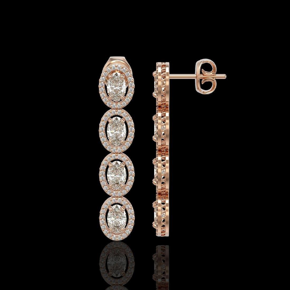 5.33 CTW Oval Diamond Designer Earrings 18K Rose Gold - 2