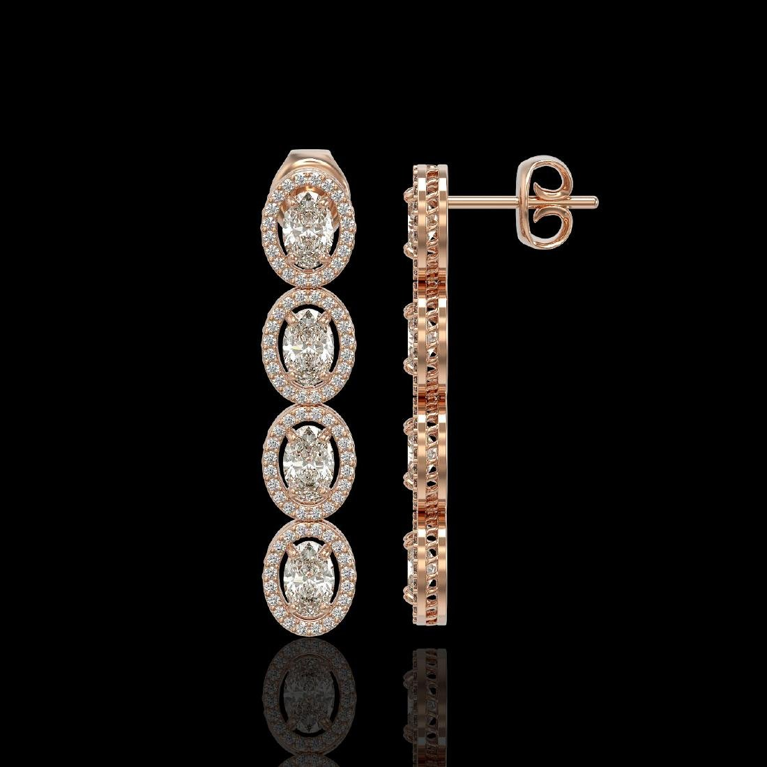 5.33 CTW Oval Diamond Designer Earrings 18K Rose Gold - 2