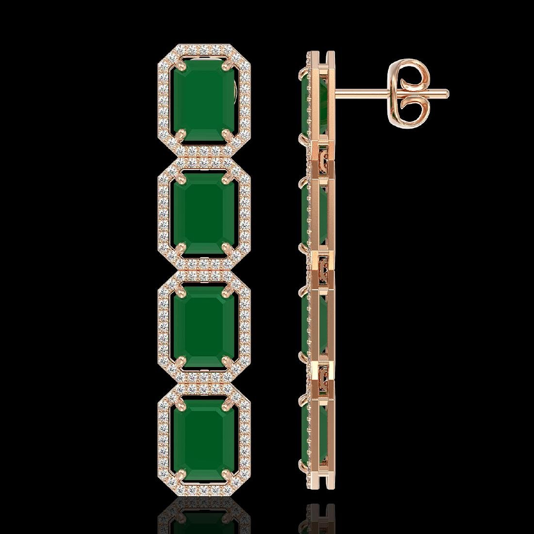 20.59 CTW Emerald & Diamond Halo Earrings 10K Rose Gold - 2