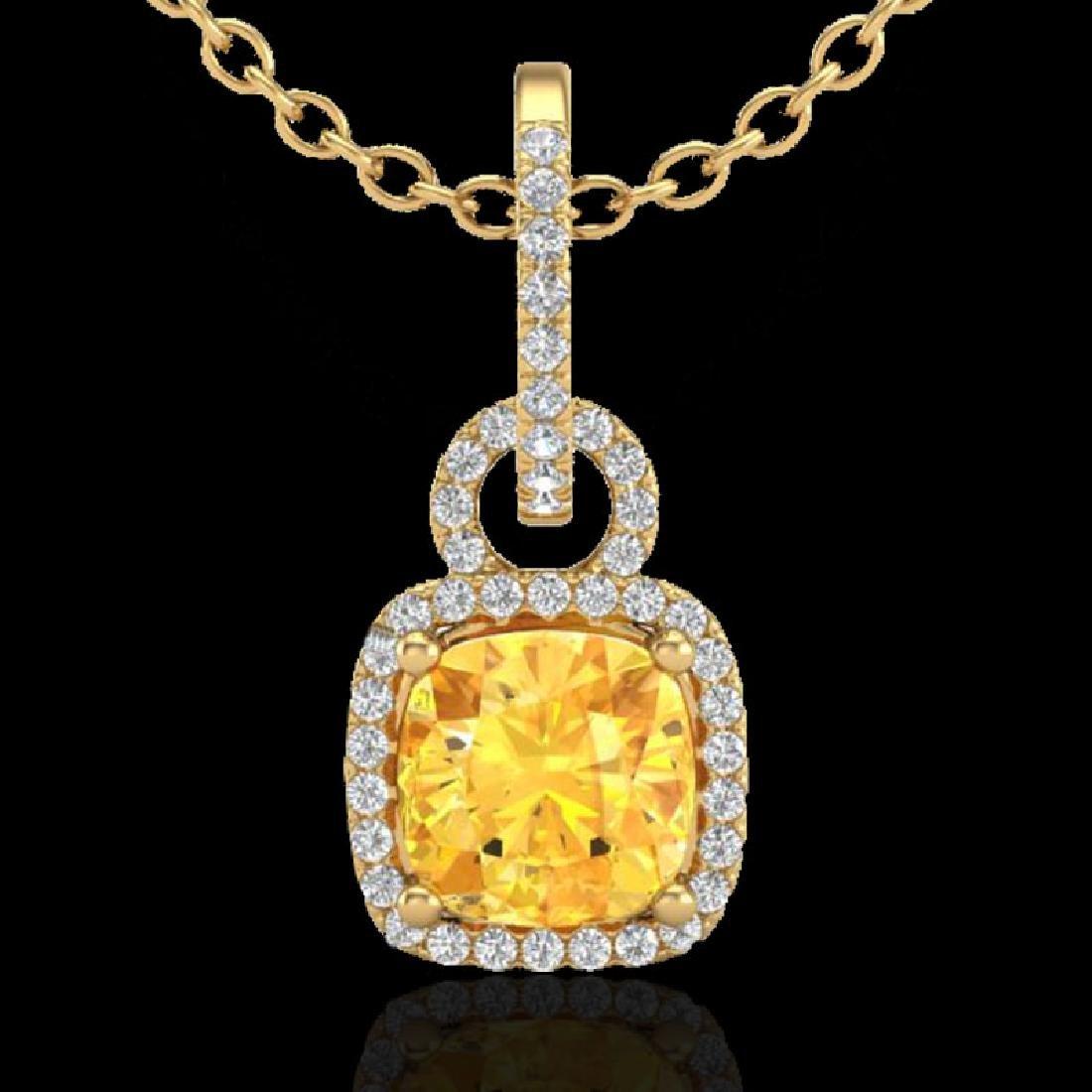 3.50 CTW Citrine & Micro VS/SI Diamond Necklace 18K - 2