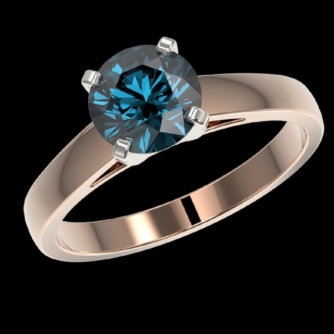 1.57 CTW Certified Intense Blue SI Diamond Solitaire - 2