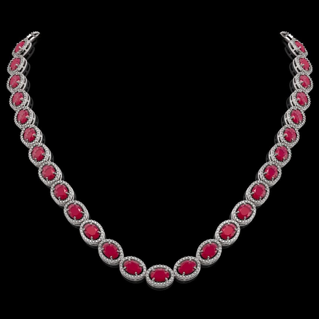52.15 CTW Ruby & Diamond Halo Necklace 10K White Gold