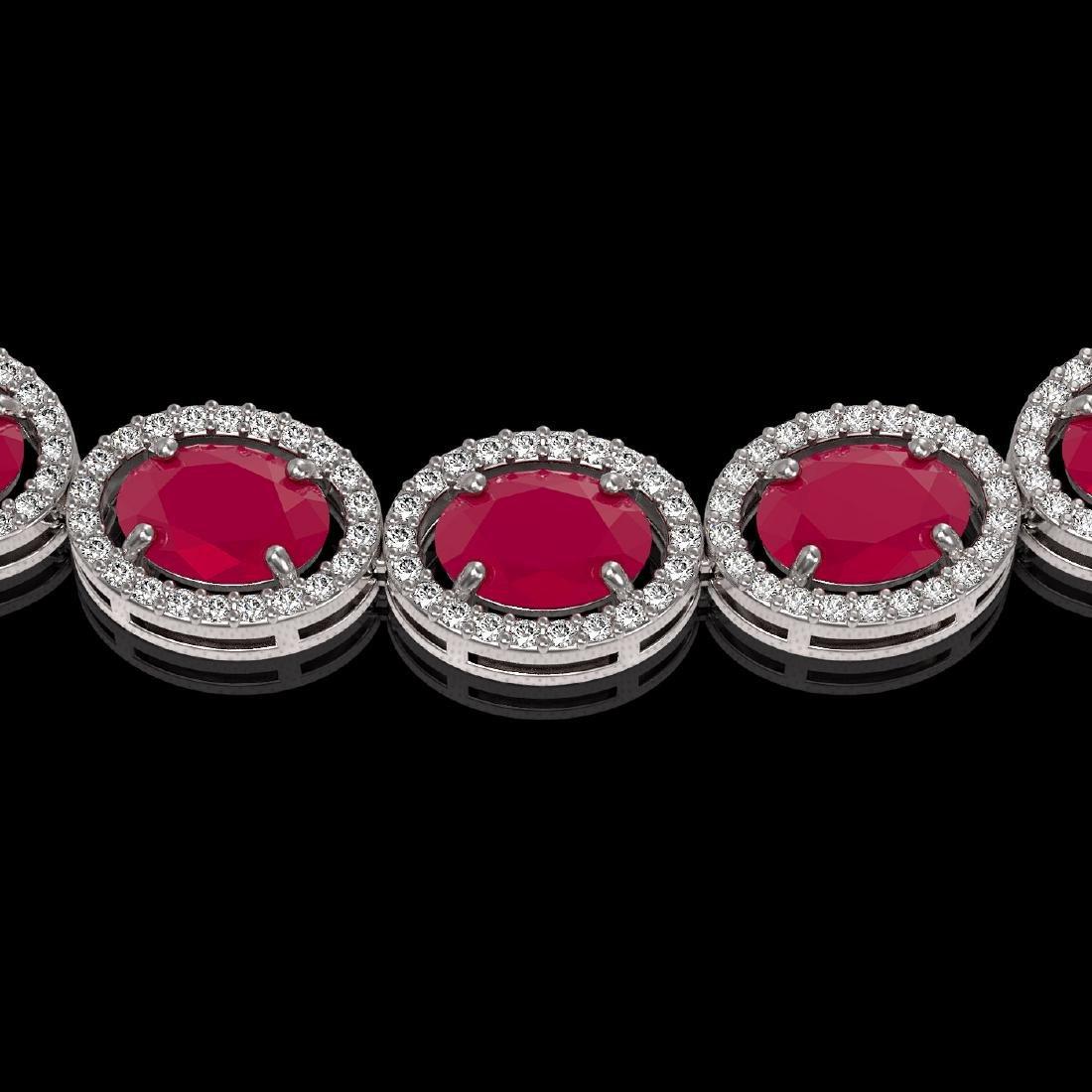 52.15 CTW Ruby & Diamond Halo Necklace 10K White Gold - 3