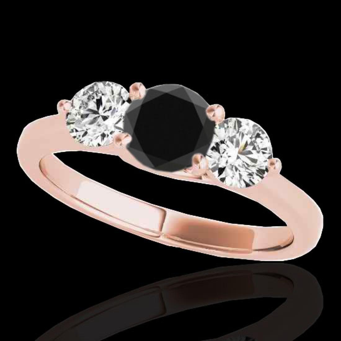 2 CTW Certified VS Black Diamond 3 Stone Solitaire Ring