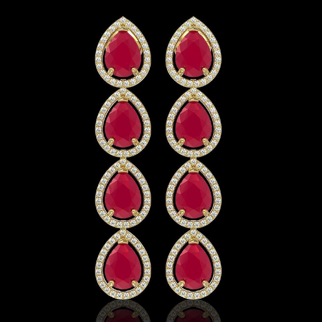 16.01 CTW Ruby & Diamond Halo Earrings 10K Yellow Gold
