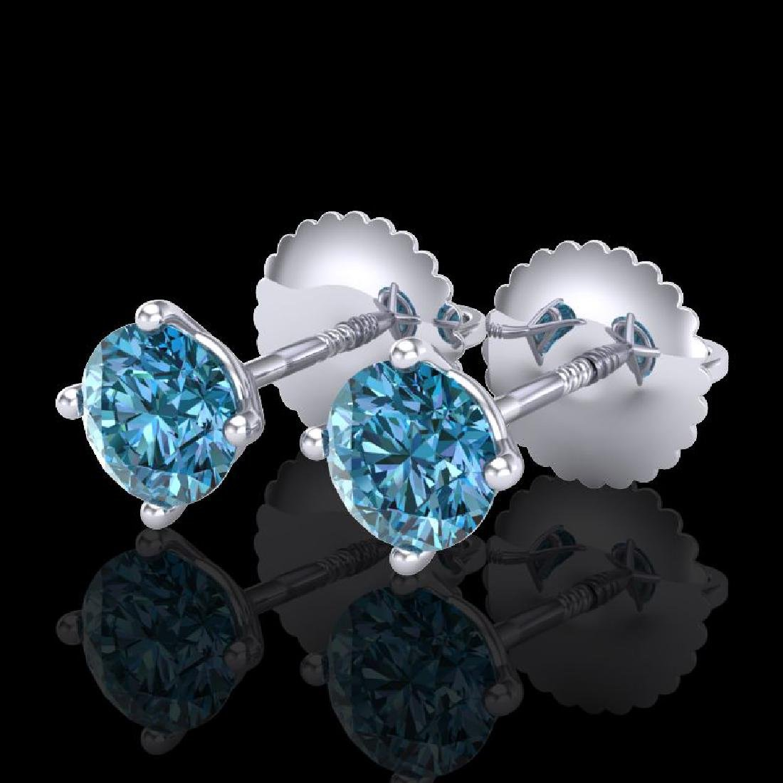 0.65 CTW Fancy Intense Blue Diamond Art Deco Stud