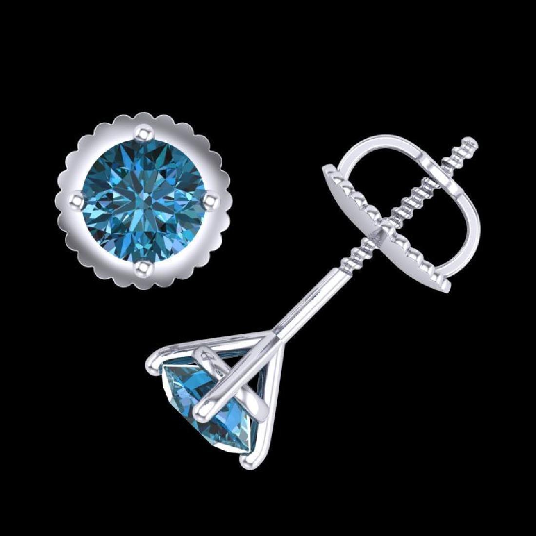 0.65 CTW Fancy Intense Blue Diamond Art Deco Stud - 3