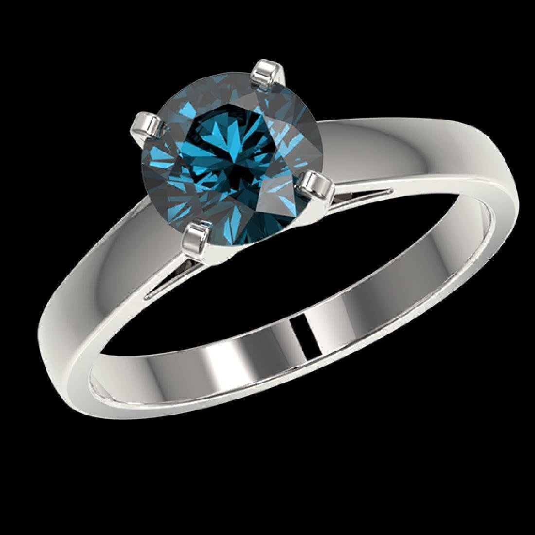 1.46 CTW Certified Intense Blue SI Diamond Solitaire - 2