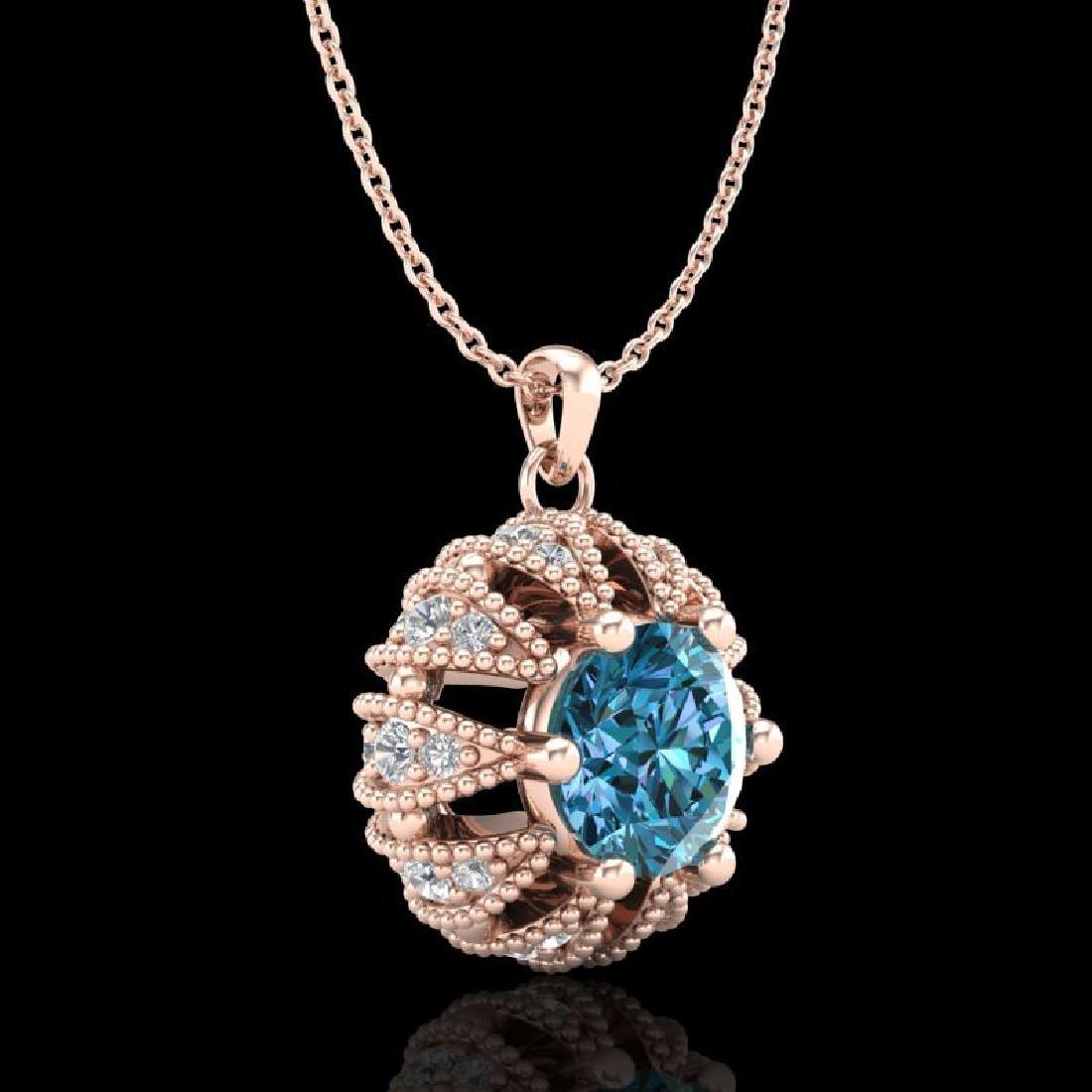 1.2 CTW Fancy Intense Blue Diamond Art Deco Stud - 3