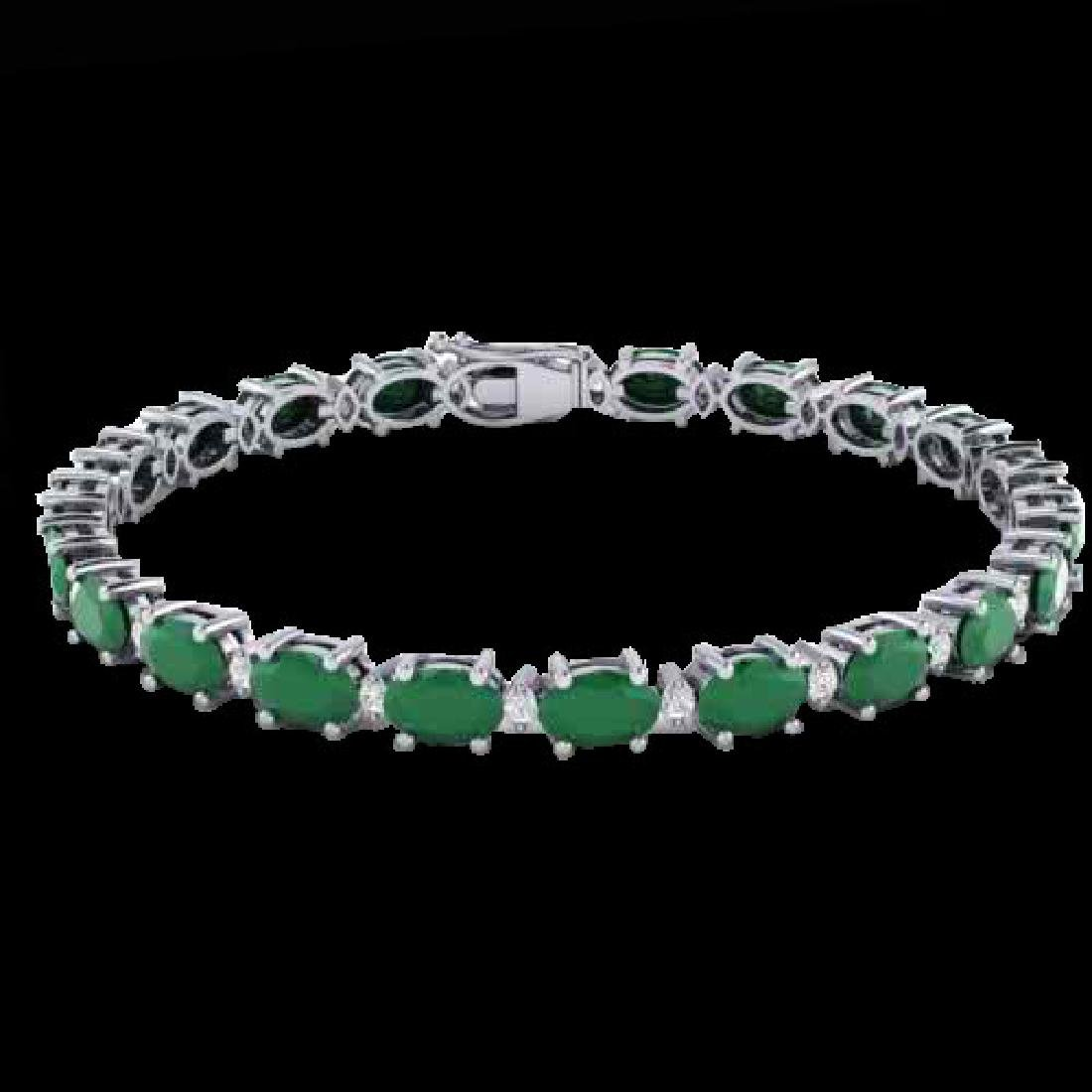 15 CTW Emerald & VS/SI Diamond Eternity Bracelet 10K - 2