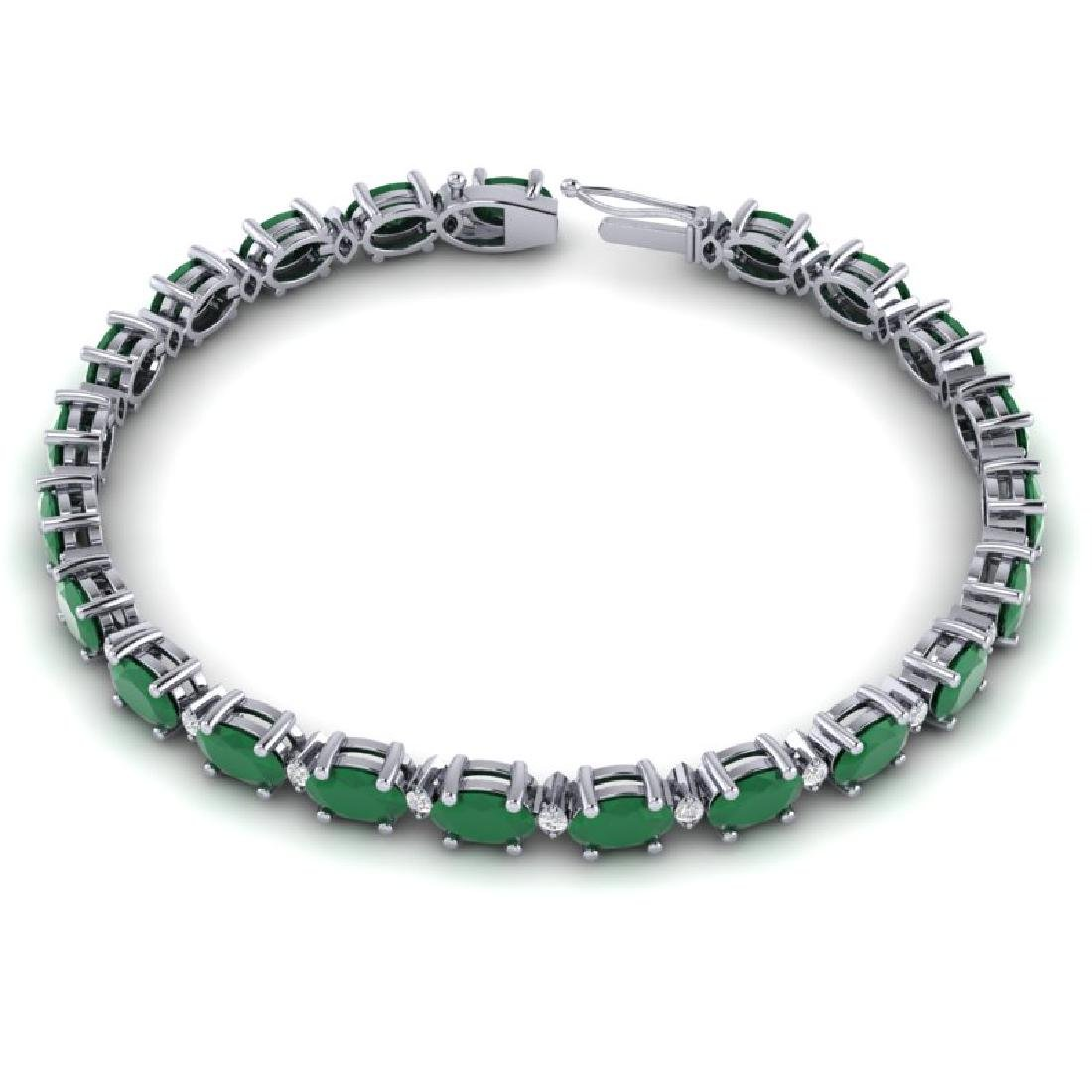 15 CTW Emerald & VS/SI Diamond Eternity Bracelet 10K - 3