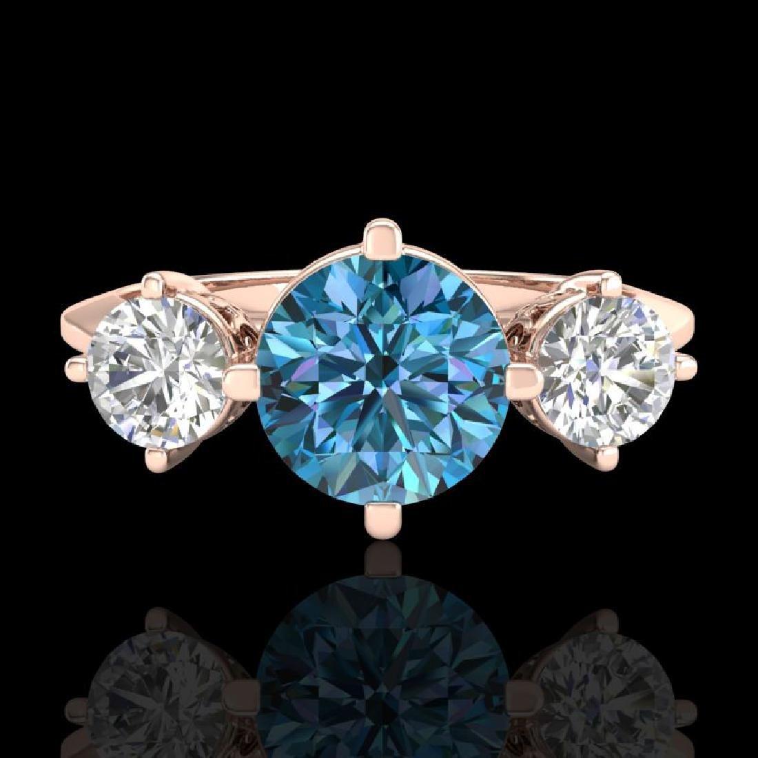 1.51 CTW Intense Blue Diamond Solitaire Art Deco 3 - 2