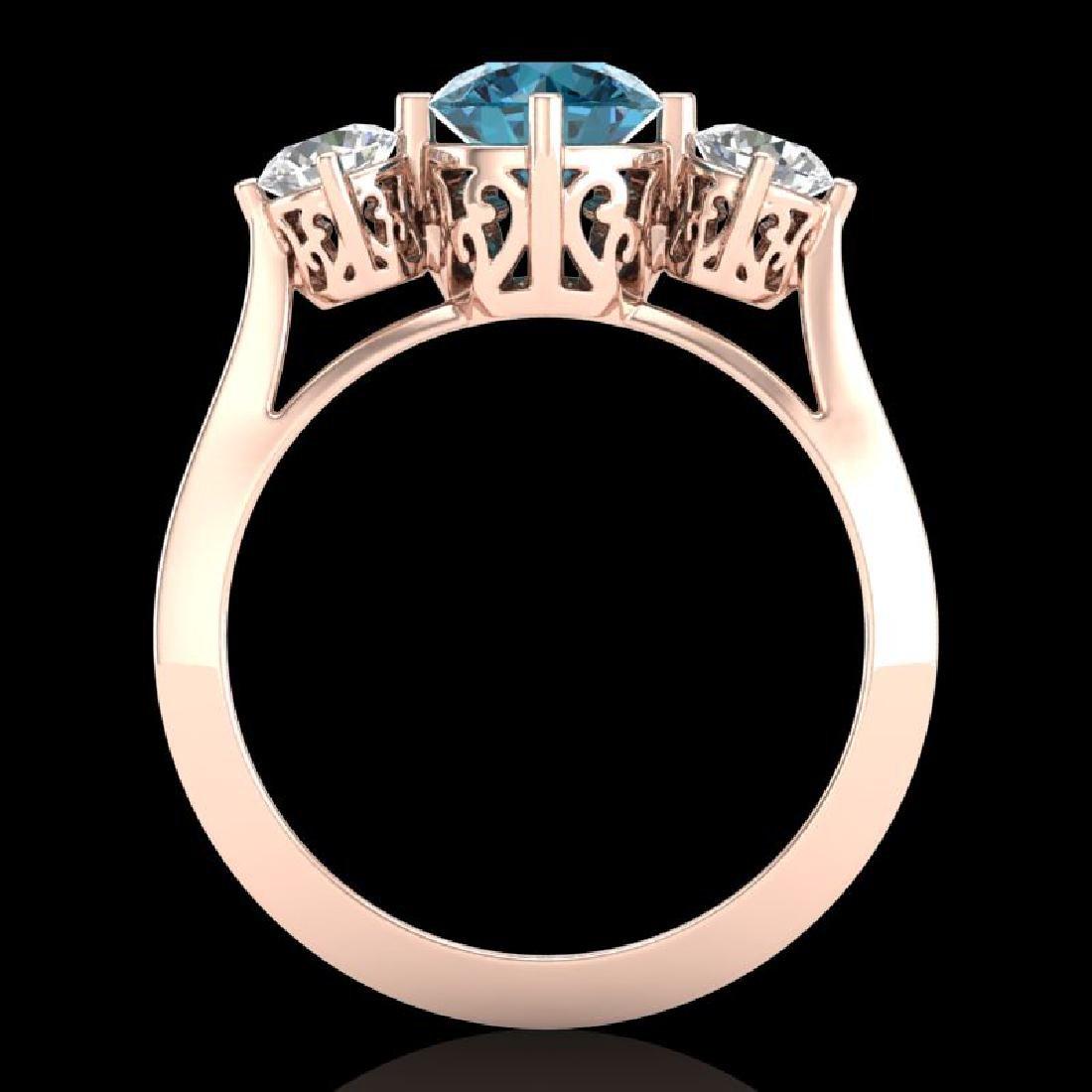 1.51 CTW Intense Blue Diamond Solitaire Art Deco 3 - 3