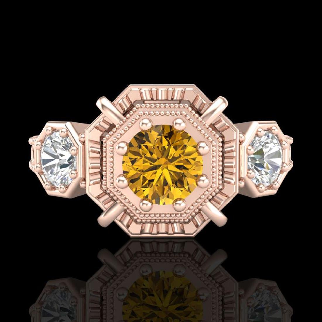 1.01 CTW Intense Fancy Yellow Diamond Art Deco 3 Stone - 2