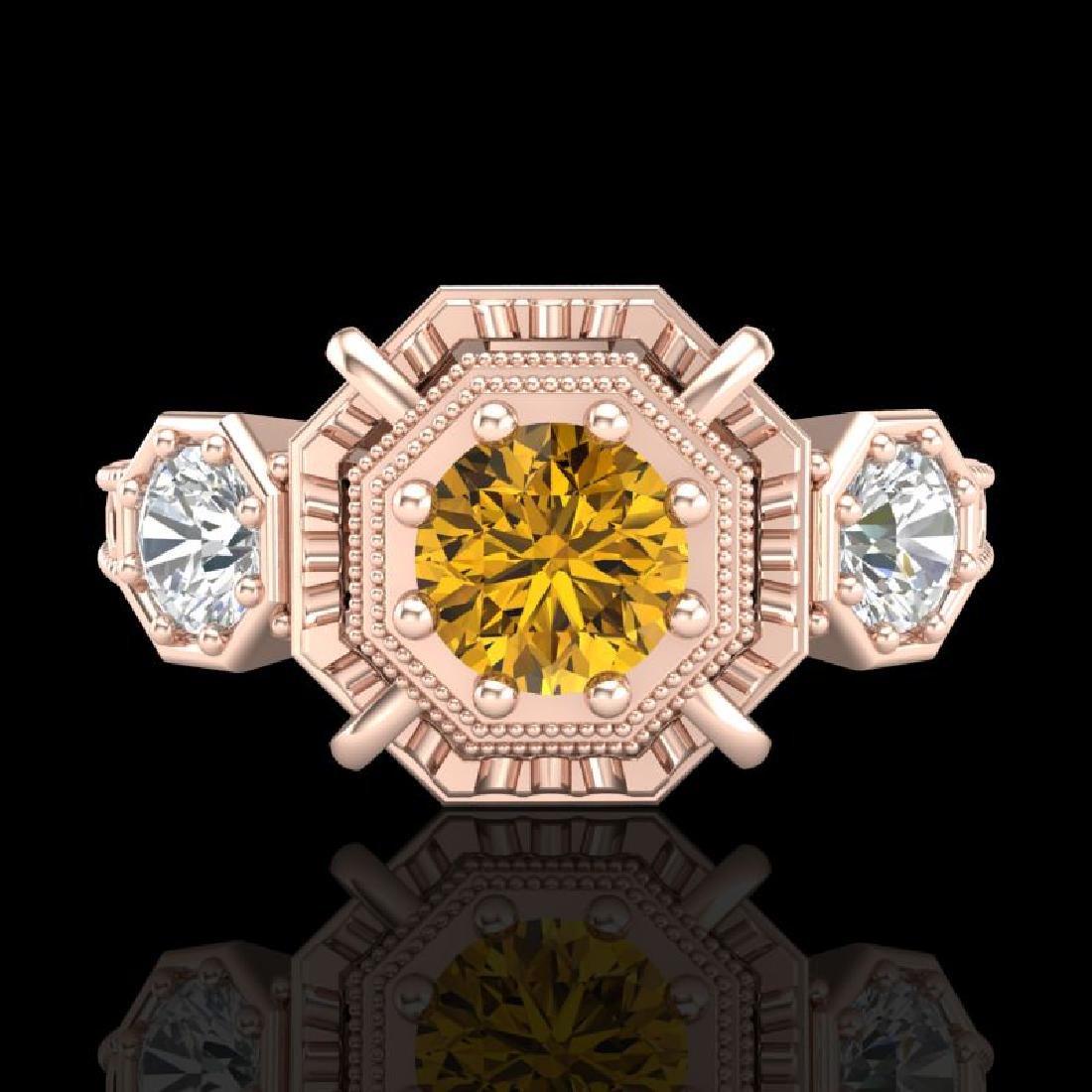 1.01 CTW Intense Fancy Yellow Diamond Art Deco 3 Stone - 2
