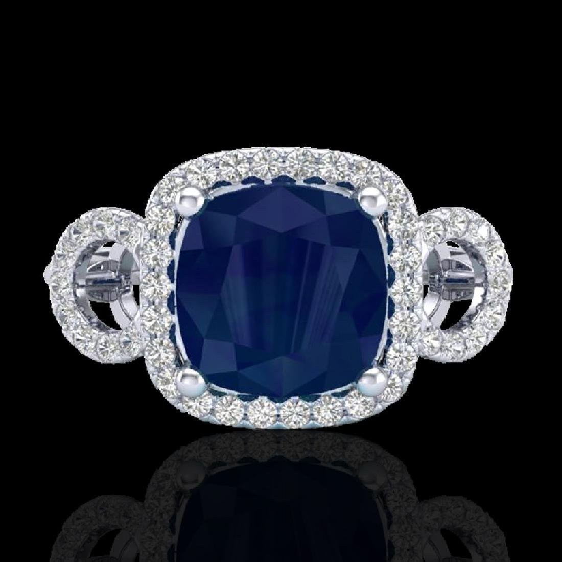 3.15 CTW Sapphire & Micro VS/SI Diamond Ring 18K White