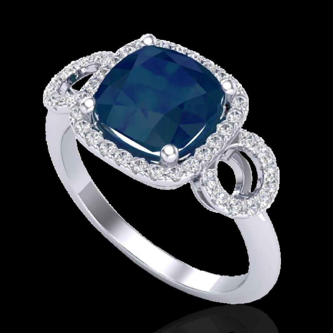 3.15 CTW Sapphire & Micro VS/SI Diamond Ring 18K White - 2