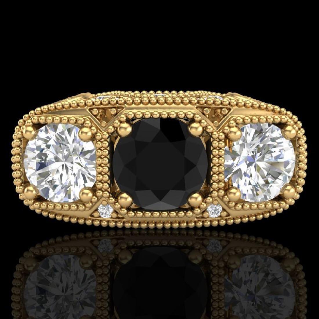 2.51 CTW Fancy Black Diamond Solitaire Art Deco 3 Stone - 2