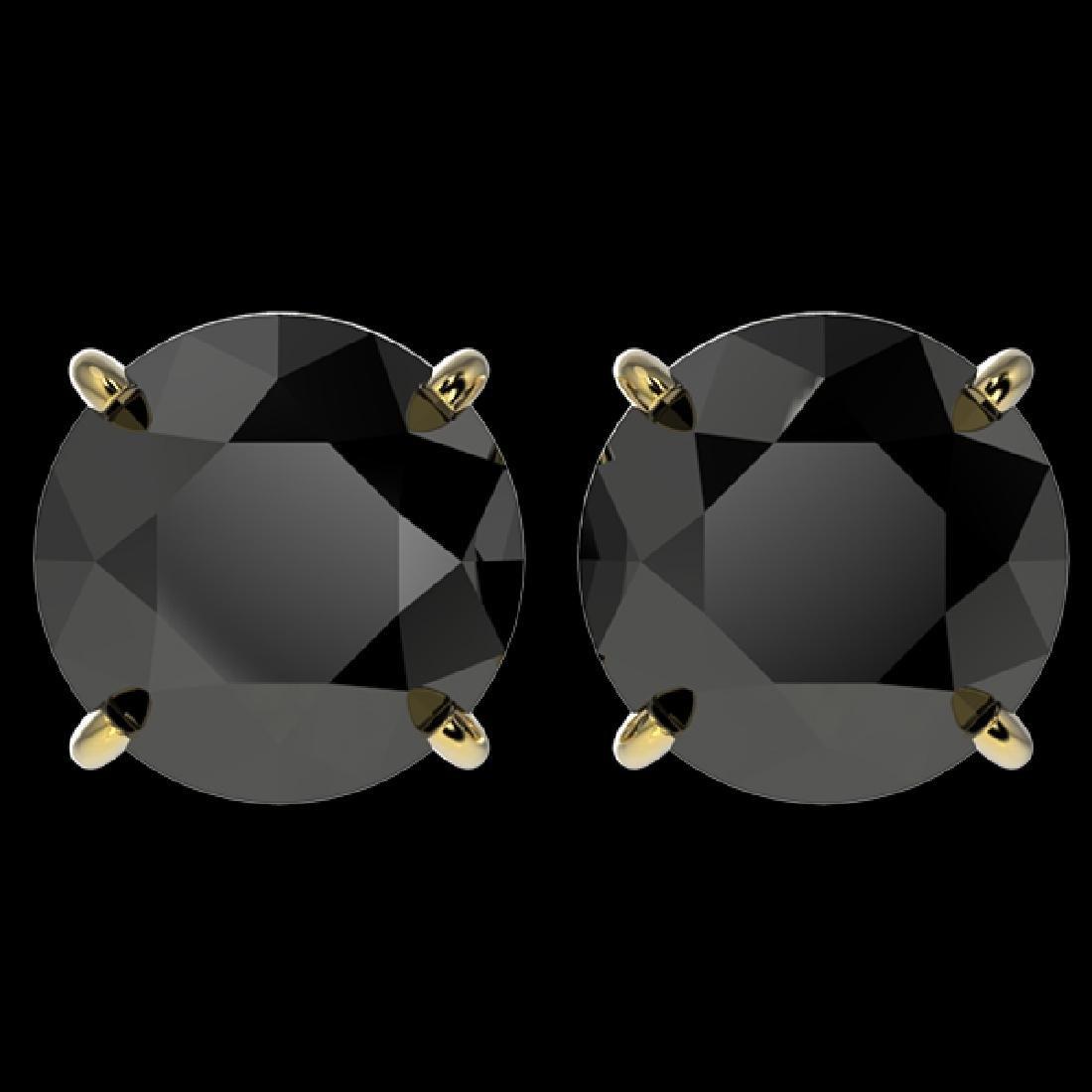4 CTW Fancy Black VS Diamond Solitaire Stud Earrings