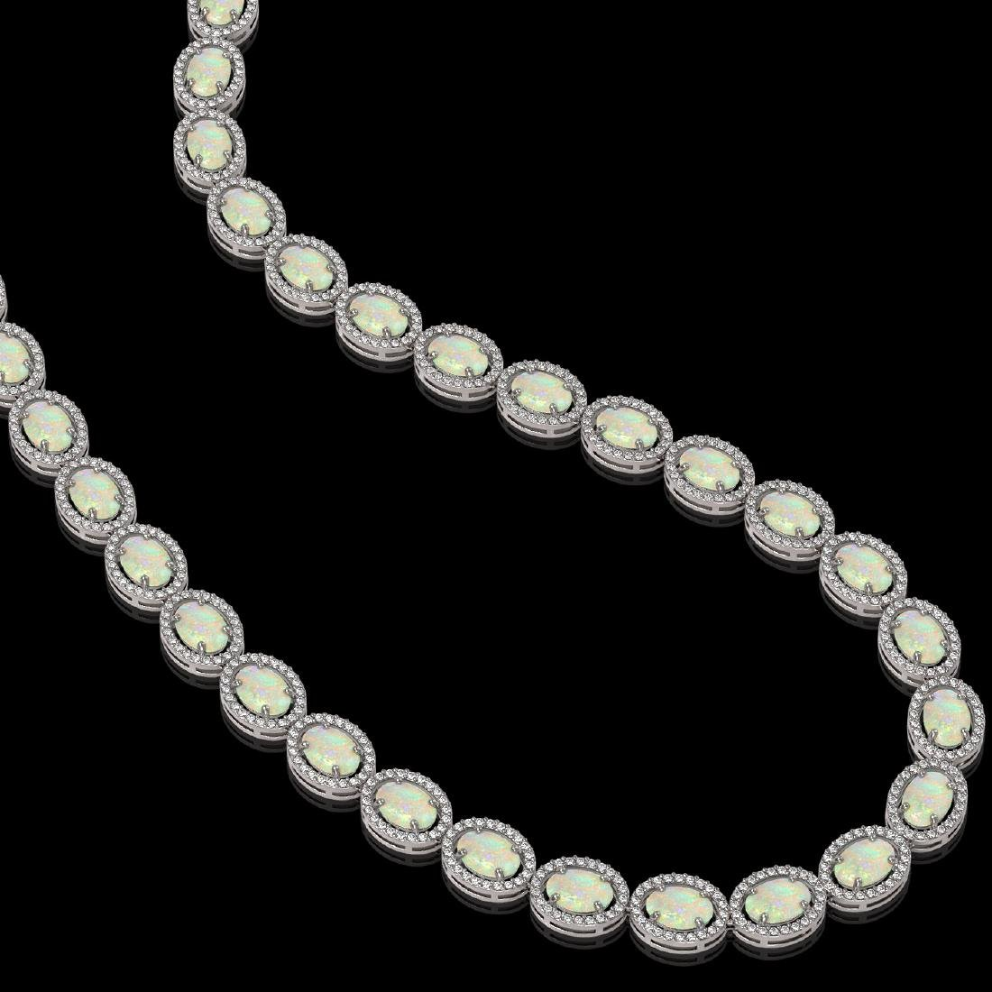 32.42 CTW Opal & Diamond Halo Necklace 10K White Gold - 2