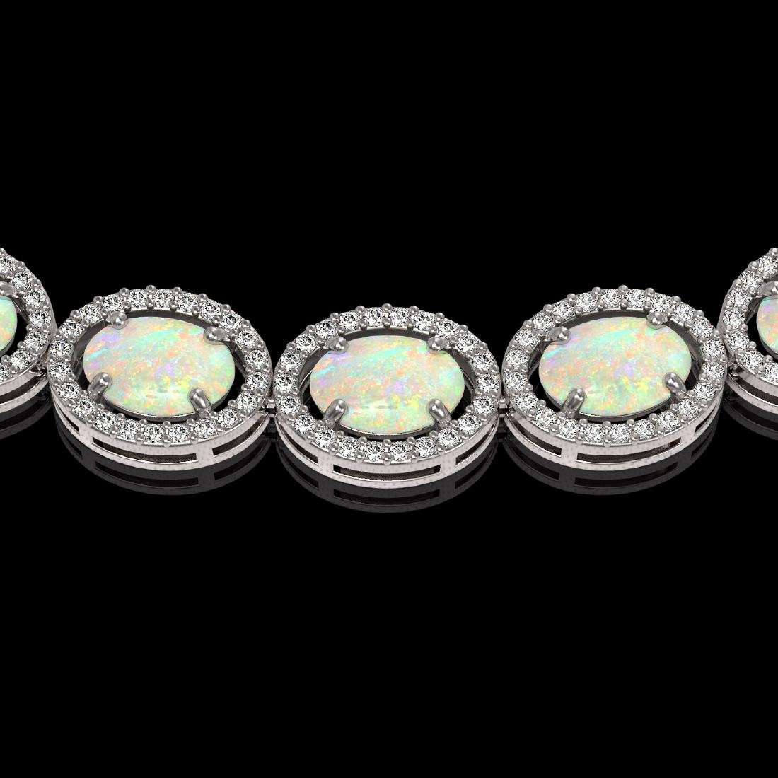 32.42 CTW Opal & Diamond Halo Necklace 10K White Gold - 3