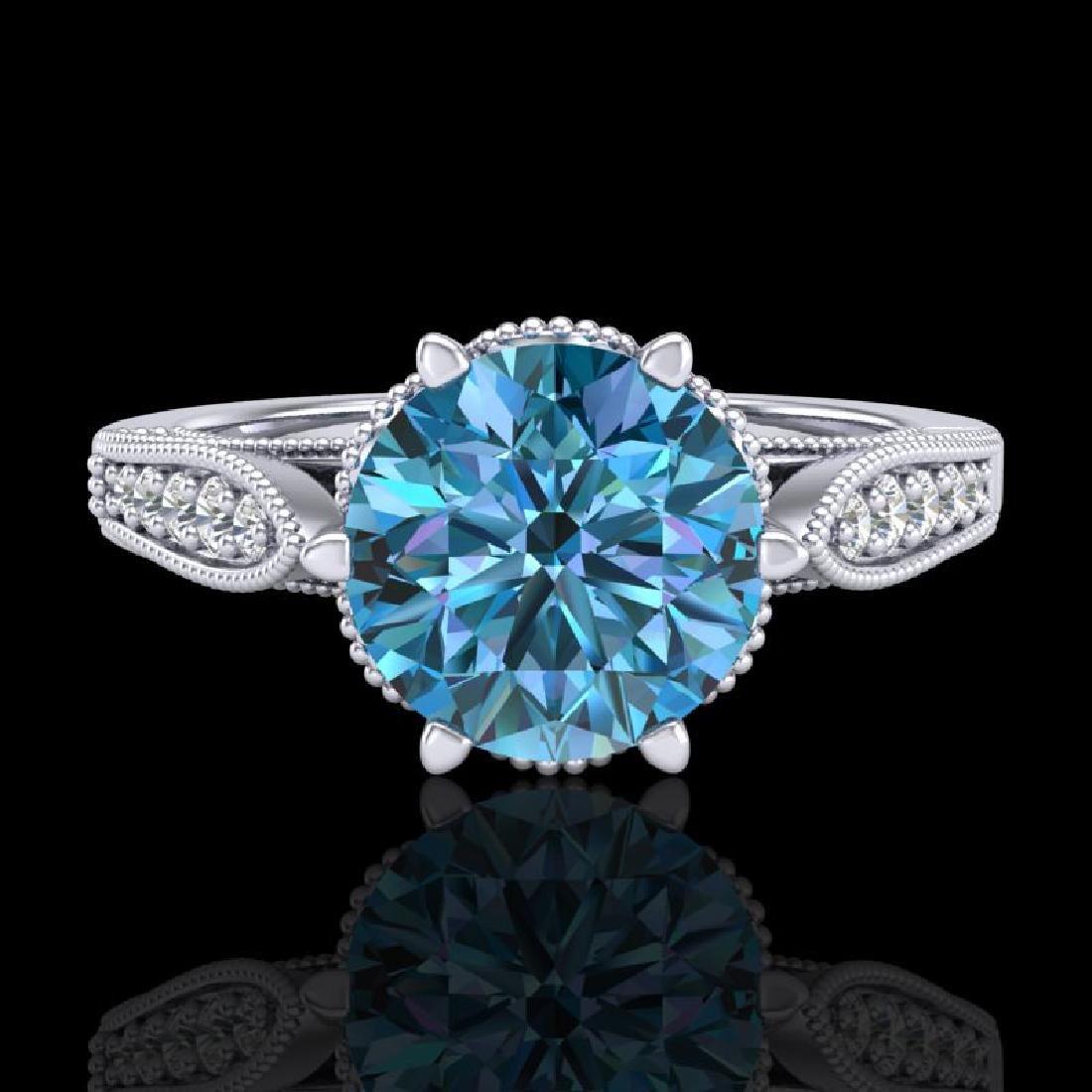 2.2 CTW Intense Blue Diamond Solitaire Engagement Art - 2