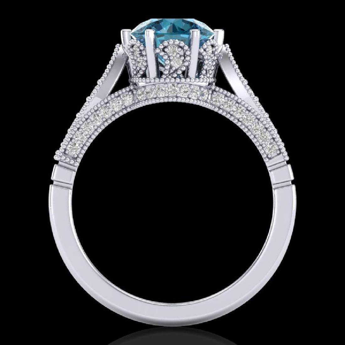 2.2 CTW Intense Blue Diamond Solitaire Engagement Art - 3