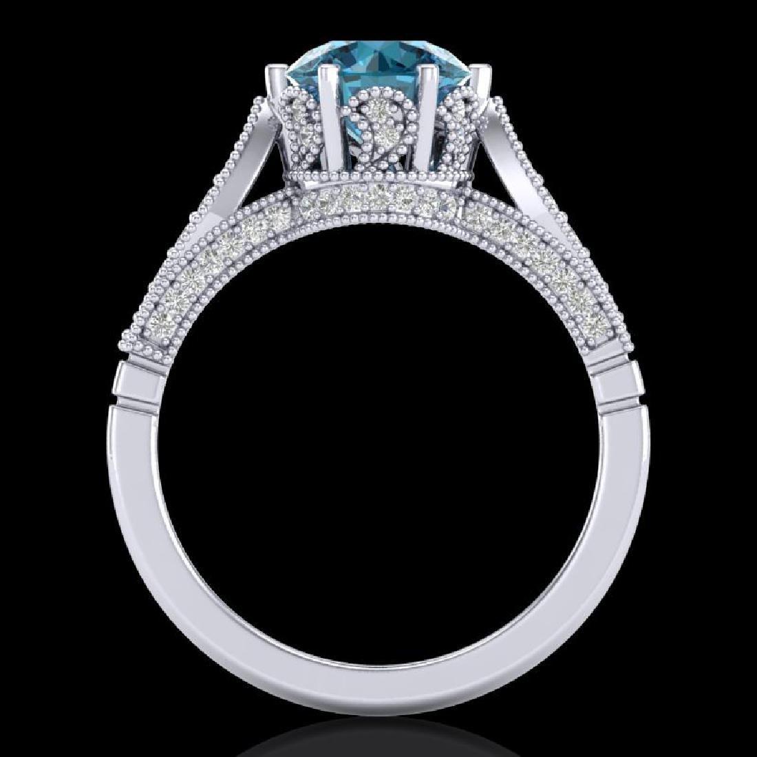 2.2 CTW Intense Blue Diamond Solitaire Engagement Art - 3