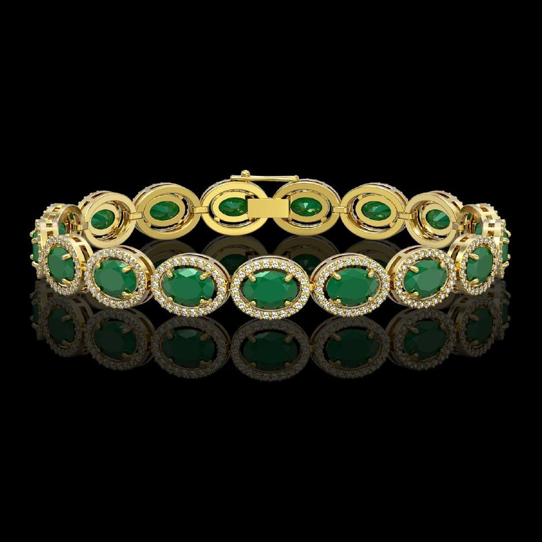 22.89 CTW Emerald & Diamond Halo Bracelet 10K Yellow