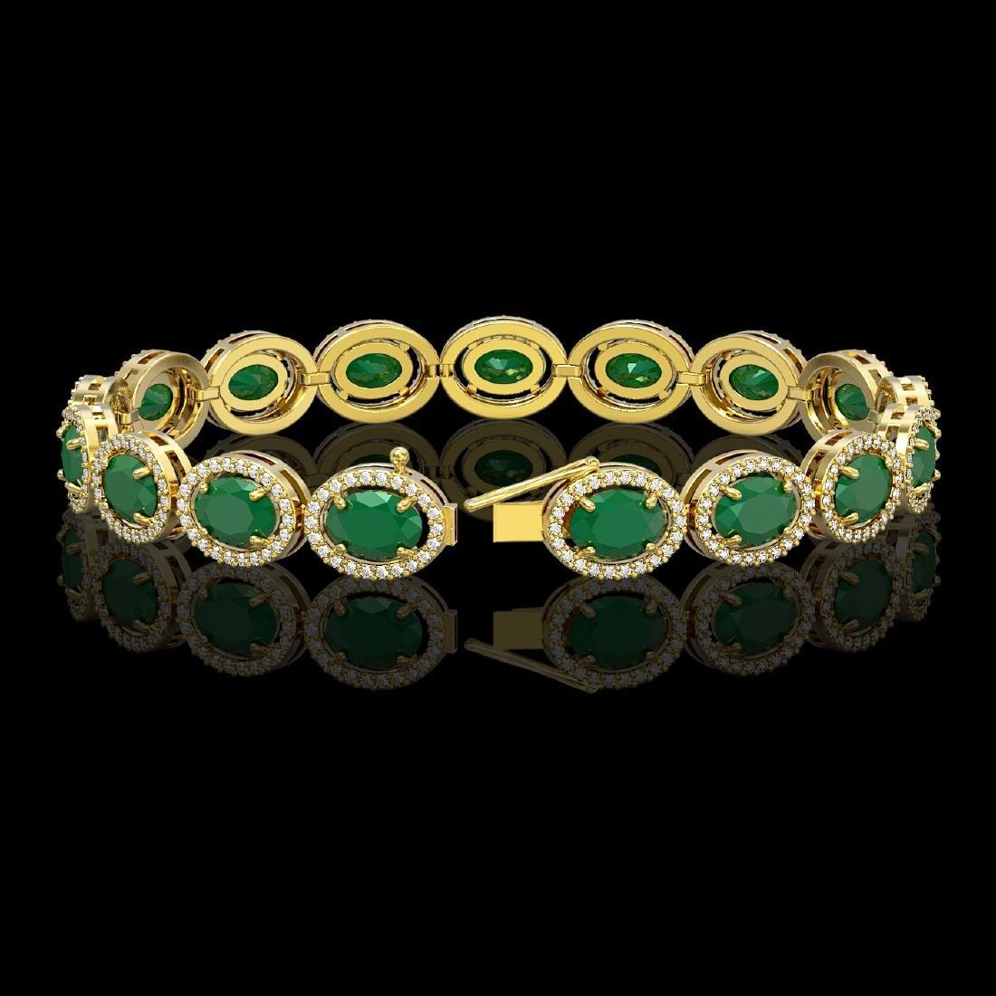 22.89 CTW Emerald & Diamond Halo Bracelet 10K Yellow - 2