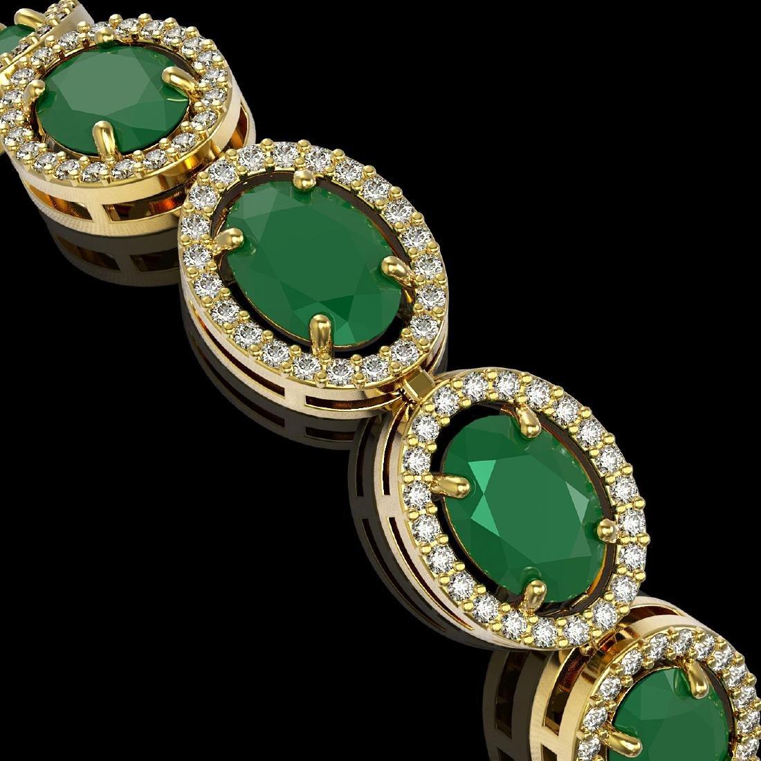 22.89 CTW Emerald & Diamond Halo Bracelet 10K Yellow - 3