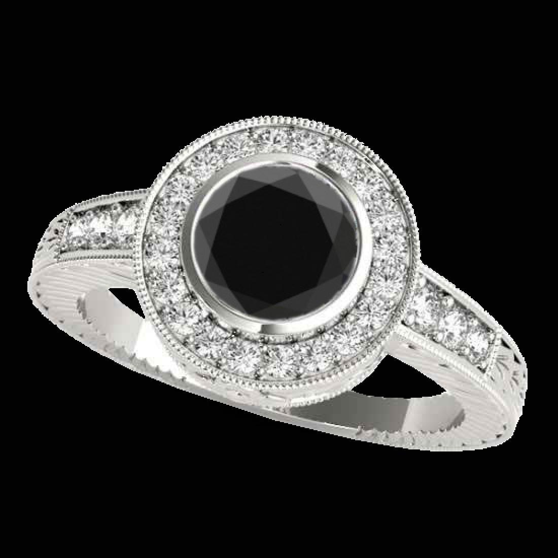 1.50 CTW Certified VS Black Diamond Solitaire Halo Ring